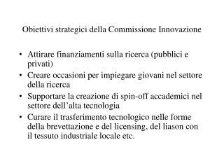 Obiettivi strategici della Commissione Innovazione
