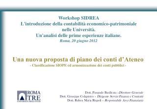 Workshop SIDREA  L'introduzione della contabilità economico-patrimoniale nelle Università.