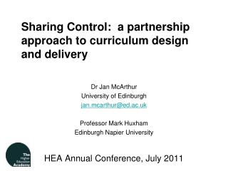 Sharing Control:  a partnership approach to curriculum design and delivery