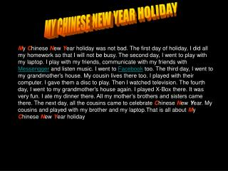 MY CHINESE NEW YEAR HOLIDAY