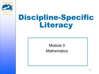 Discipline-Specific Literacy