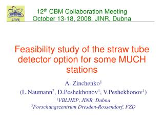 12 th  CBM Collaboration Meeting October 13-18, 2008, JINR, Dubna