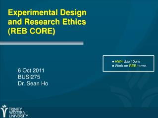Experimental Design and Research Ethics (REB CORE)