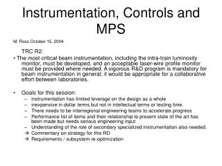 Instrumentation, Controls and MPS