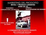 MARKETING DEL PRODOTTO RETAIL  PRODUCT ORIENTED ANNI 50-70