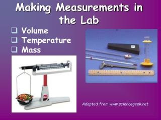 Making Measurements in the Lab
