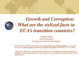 Growth and Corruption: What are the stylized facts in ECA's transition countries?