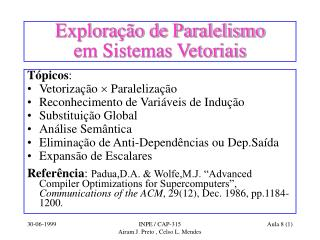 Exploração de Paralelismo  em Sistemas Vetoriais