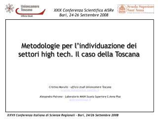 Metodologie per l'individuazione dei settori high tech. Il caso della Toscana