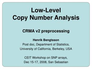 Low-Level Copy Number Analysis CRMA v2 preprocessing