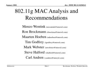 802.11g MAC Analysis and Recommendations