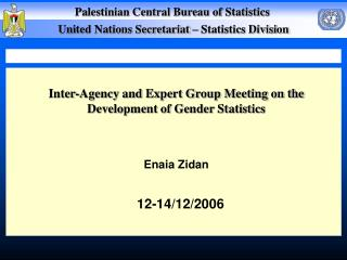 Inter-Agency and Expert Group Meeting on the Development of Gender Statistics Enaia Zidan