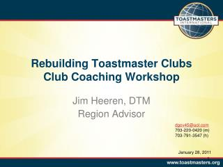 Rebuilding Toastmaster Clubs Club Coaching Workshop