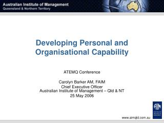Developing Personal and Organisational Capability