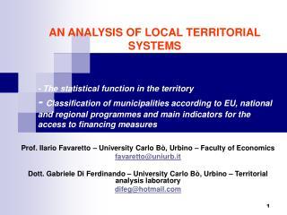 Prof. Ilario Favaretto – University Carlo Bò, Urbino – Faculty of Economics favaretto@uniurb.it