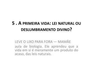 5 . A primeira vida: lei natural ou deslumbramento divino?