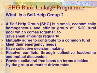 SHG Bank Linkage Programme