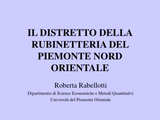 IL DISTRETTO DELLA RUBINETTERIA DEL PIEMONTE NORD ORIENTALE