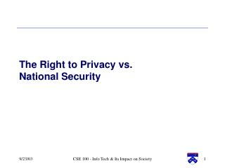 The Right to Privacy vs.  National Security