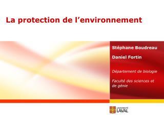 La protection de l'environnement
