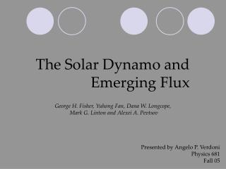 The Solar Dynamo and Emerging Flux