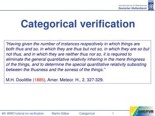 Categorical verification