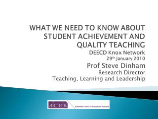 Prof Steve Dinham Research Director Teaching, Learning and Leadership
