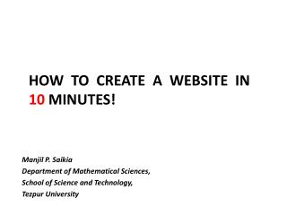 How  to  create  a  website  in   10  minutes!