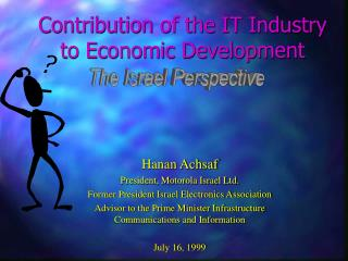 Contribution of the IT Industry to Economic Development
