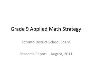 Grade 9 Applied Math Strategy