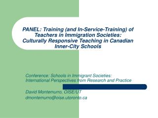 Conference: Schools in Immigrant Societies: International Perspectives from Research and Practice