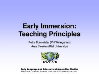 Early Immersion: Teaching Principles
