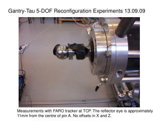 Gantry-Tau 5-DOF Reconfiguration Experiments 13.09.09