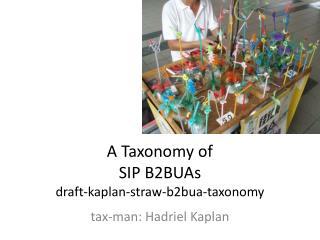 A Taxonomy of  SIP B2BUAs draft-kaplan-straw-b2bua-taxonomy