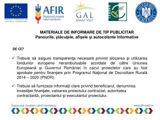 MATERIALE DE INFORMARE DE TIP PUBLICITAR