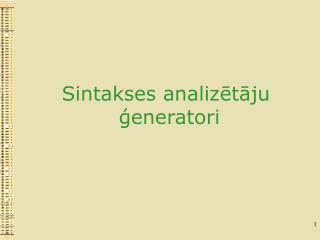 Sintakses analizētāju  ģeneratori