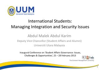 International Students:  Managing Integration and  Security  Issues