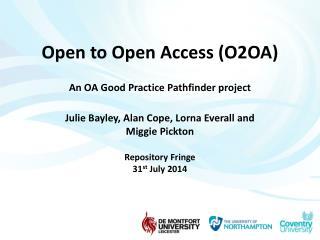 O2OA Aim of Project