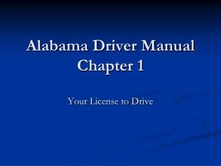 Alabama Driver Manual Chapter 1