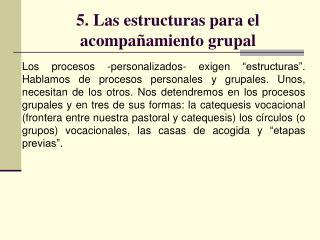 5. Las estructuras para el acompañamiento grupal