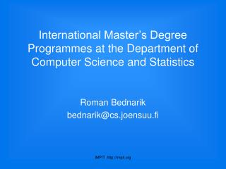 International Master's Degree Programmes at the Department of Computer Science and Statistics