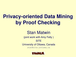 Privacy-oriented Data Mining  by Proof Checking