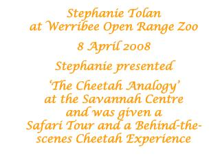 Stephanie Tolan  at Werribee Open Range Zoo 8 April 2008 Stephanie presented