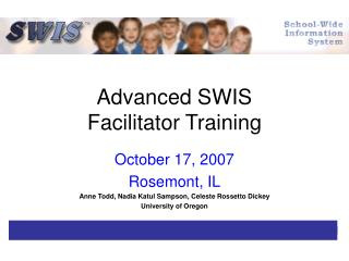 Advanced SWIS  Facilitator Training