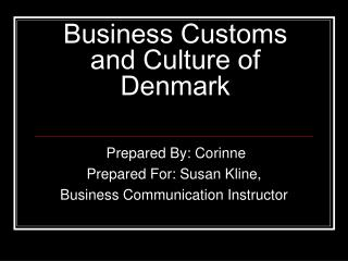 Business Customs and Culture of Denmark
