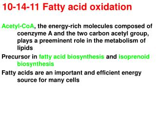 10-14-11 Fatty acid oxidation