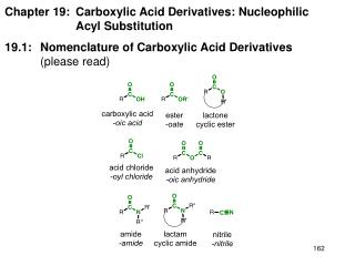 Chapter 19: 	Carboxylic Acid Derivatives: Nucleophilic  		Acyl Substitution