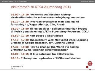 Velkommen til DIKU Alumnedag 2014