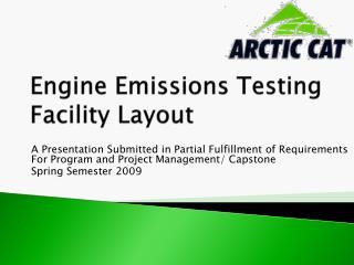 Engine Emissions Testing Facility Layout