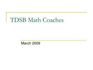 TDSB Math Coaches